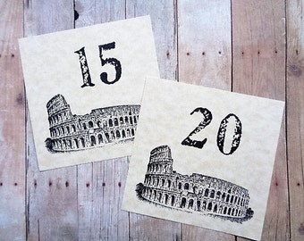 Italian Wedding Table Numbers Rome Colosseum Italy Family Reunion