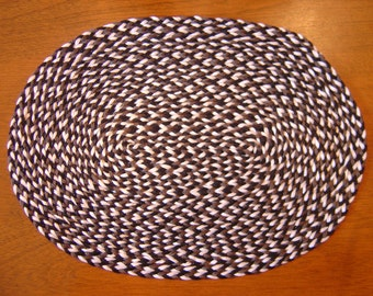 Dollhouse black, gray and white oval rug 1:12 scale