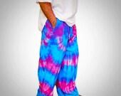 Hippie Pants  |  Tie Dye  |  Wide Leg  |  Turquoise  | Raspberry | Festival Clothing | Burning Man Clothing | Etsy