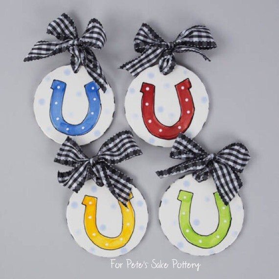 KENTUCKY DERBY ornament, Kentucky Derby gift, KY Derby party favor, Equestrian ornament, Horseshoe ornament, Jockey silk ornament