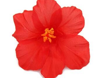 Red Hibiscus Hair Flower - Pinup, Retro, Rockabilly Tropical Hair Clip - Hawaiian Flower - Tiki Hair Clip