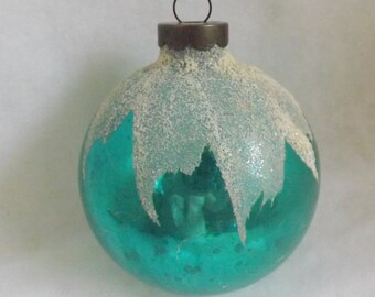 Vintage glass ball ornament Christmas ornament aqua ornament  or turquoise ornament blue snowcap ornament mica ornament frosted ornament