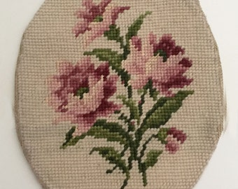 "Vintage Floral Needlepoint Piece,  10""x 7"""