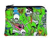 CLEARANCE Day of the Dead Halloween Skeleton Band Coin Purse Small Zipper Pouch