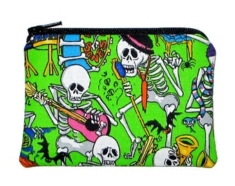 Day of the Dead Halloween Skeleton Band Coin Purse - 20% off Shop Closing Sale