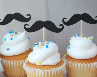 Sanchez Black Moustache Retro Cupcakes Shower or Birthday Party Cupcake Toppers