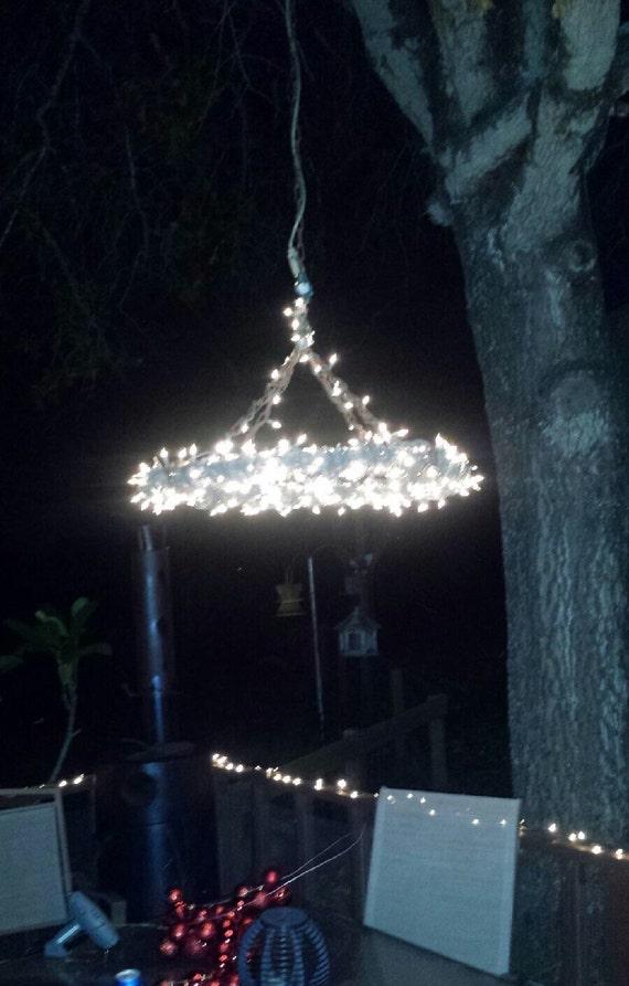 Outdoor landscape lighting wire : Rustic outdoor lighting barbed wire chandelier