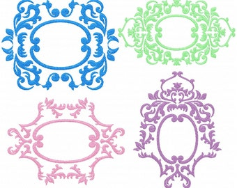 """Chinoiserie Monogram Frames Machine Embroidery Design Patterns 4 styles in 6 sizes 4"""", 5"""", 6"""", 7"""", 8"""", 9"""" and 10"""" Asian style Dorothy Draper"""