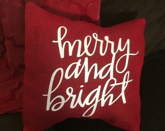 Merry and Bright Burlap Envelope Pillow Cover/ Holiday Pillow Cover/ Christmas Pillow Cover/ Burlap Pillow Cover