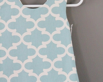 Modern quatrefoil pinafore 12m 2t 3t  tunic top  aqua white blue ready to ship