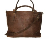 "BROWN leather tote bag // Leather cross-body bag Nora XL BIS fits a 17"" laptop, Vintage Look"