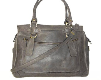 Distressed Anthracite Grey Leather handbag tote handbag cross-body bag Rina XXL fits a 17 inches laptop