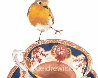 Robin Watercolour PRINT - Teacup Watercolor, Bird Painting, 11x14 Art Print
