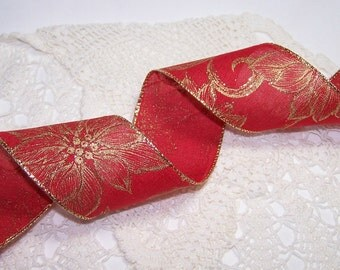 """3 Yards 2.5"""" Red with Gold Poinsettias Wired Ribbon Classic Christmas Holiday Decor Bow BTY Holiday Wedding Gift Wrapping"""