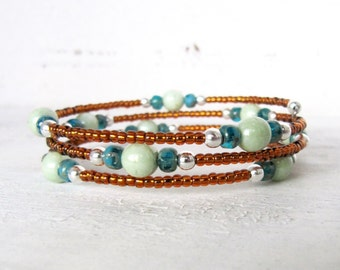 Aqua Blue, Spring Green, and Brown Memory Wire Bracelet, Brown, Green, and Blue Silver Memory Wire Wrap, Brown and Green Bracelet