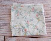 Vintage Pillowcase / Pink & Grey Floral Print / Vintage Bedding / Linens