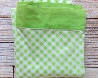 Vintage Queen Flat Sheet  / Green Gingham / Vintage Linens