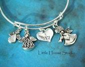 Adjustable bangle, Charm Bracelet, Adjustable Bracelet, Angel Bracelet Angel Wings, Angel Wings Charm, Gift for Her, Angel Wing Jewelry