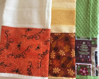 Dish Towel | Cotton Fabric | Holiday | Thanksgiving Fall | Kitchen Decor | Home Decor | Linens | Halloween | Set | Christmas Season