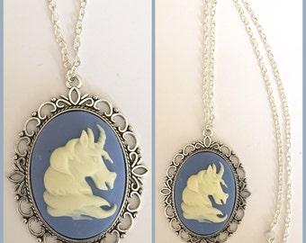 Large Unicorn Cameo Necklace