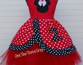 Custom Boutique Clothing Minnie Mouse Birthday Princess Top and Tulle Set  Girl