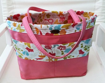organizer tool bag // pink canvas // small tote // short straps