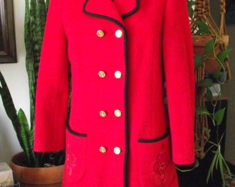Red Wool Coat-Long-Embroidered-Bavarian/Boho with a Twist-Free Shipping