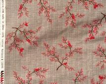 Winter's Lane red birds berries Kate & Birdie moda fabric FQ or more