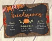 Friendsgiving Invitation, Thanksgiving Invitation, Autumn Party Invite, Fall Invitation, Thanksgiving Potluck, Burlap Glitter Chalkboard 5x7