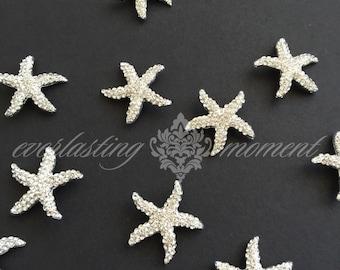 Starfish Rhinestone Buckle Ribbon Slider wedding invitation beach bling embellishment diy rhinestone buckle