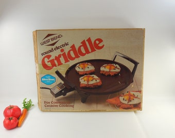 Unused Boxed 1980 West Bend Round Electric Griddle - SilverStone Premium Non-stick