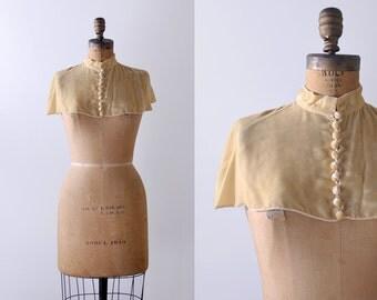 Antique velvet caplet. shoulders. yellow velvet shawl. buttons. collar. cropped cape.