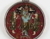 "RESERVED - Antique Indian Pendant, Mughal Era, c.1850's, Ganjifa Playing Card, Krishna, Radha & Rukmini, 51cm (20"") Snake Chain, 55.8 grams"