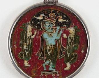 "Antique Indian Pendant, Mughal Era, c.1850's, Ganjifa Playing Card, Krishna, Radha & Rukmini, 51cm (20"") Sterling Snake chain, 55.8 grams"