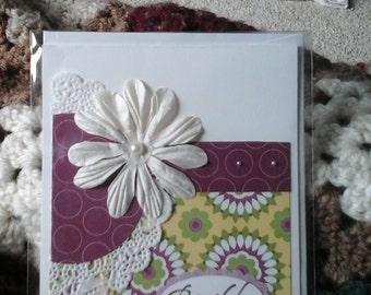 Flowers and lace birthday card-free shipping