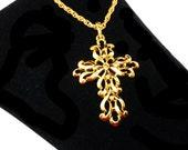 Trifari GoldTone Cross Pendant & Chain Necklace - Swirls and Curls - Designer Signed - Vintage Crown Trifari