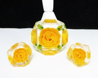 Yellow Rose Brooch Earrings Set- Encased in Lucite - Roses Demi Parure - Mid Century 1950's Era Screw Backs & Pin Demi Set Jewelry