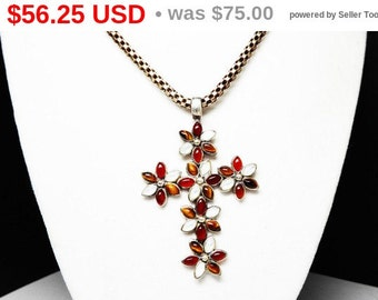 Sterling Silver Cross Pendant Necklace - Amber Carnelian Tiger's Eye & Mother of Pearl - Marquis Gemstones - Sterling Italian Chain
