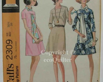 Vintage 70's Misses' Half Size Dress in 3 Versions and Scarf McCall's 2309 Sewing Pattern UNCUT Size 16 1/2, Bust 39""