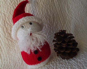 Vintage Handmade Knitted Santa Shelf Sitter Decoration with beard and Hat