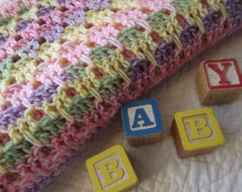 Large Crocheted Baby Blanket in Colors of Pink Green Yellow Purple