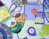 household treasures collaged in rainbow colours, tea pot, cutlery, china plates, ceramic tile, pear, orange, clock