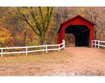 Fine Art Color Rural Americana Photography of Sandy Creek Covered Bridge in Missouri