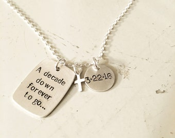 Forever in my heart sterling silver stamped necklace with heart, remembrance jewelry, loss necklace,loved one necklace, name personaized