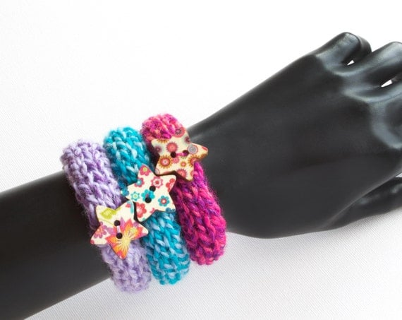 Stacking Bangles Macaroon Set of Three Button Bangles - Knit Bracelets Set of Stackable Friendship Bracelets Stocking Filler Gift for Friend