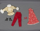 1980s Barbie clothes 2 outfits, Strapless long dress/Shoes; Long pants/Quilted Gold Jacket Fur trimmed Barbie fashion clothing