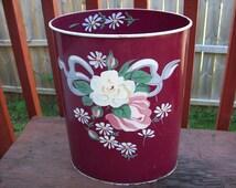 Vintage Beautiful Ransburg  Metal Hand Painted Wastebasket Waste Basket Trash Can