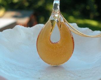Amber Venetian Murano Glass Teardrop Pendant