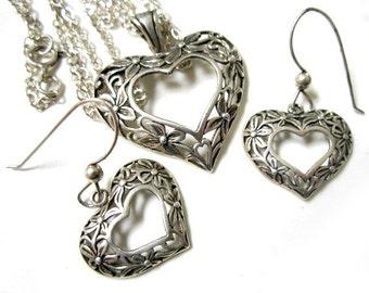 Vintage Sterling Filigree Open Heart Necklace Pierced Earring Set Under 30 Gift Idea for Her Silver Dangle Hearts
