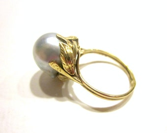 Vintage Ming Pearl Ring 14K Gold Grey Gray Akoya Pearl Signed 11mm Large Size 6.5 Grey Ming Pearl